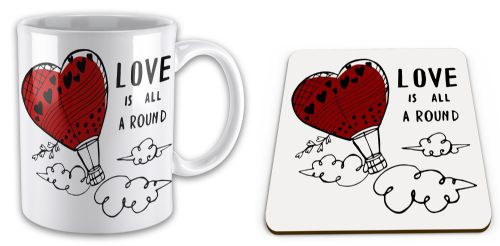 Set of Love Is All Around Cute Gift Mug & Coaster